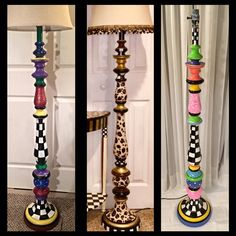 Whimsical Painted Floor Lamp, Painted Lamp, Floor Lamp, Custom Painted Lamp hand painted home decor Floor Lamp Makeover, Diy Floor Lamp, Wooden Floor Lamps, Painting Lamp Shades, Painting Lamps, Origami Lamps, Meubles Peints Style Funky, Whimsical Painted Furniture, Farmhouse Lamps