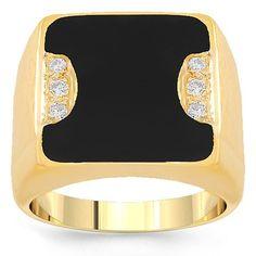 14K Yellow Gold Mens Diamond Onyx Pinky Ring 0.25 Ctw: Avianne & Co: Jewelry