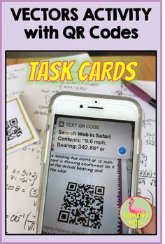 Vectors Task Cards with QR Codes Activity (PreCalculus - Unit Parametric Equation, We Are Teachers, Precalculus, Secondary Teacher, Math Task Cards, Trigonometry, Picture Cards, Math Lessons, The Unit
