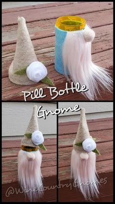 5 Best gnomes images in 2021 Christmas Ornament Crafts, Cute Crafts, Diy Christmas Gifts, Crafts To Do, Holiday Crafts, Crafts For Kids, Holiday Decor, Pill Bottle Crafts, Pill Bottles