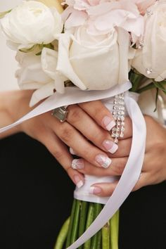 Romantic pink and white rose and bling wedding bouquet. Bride flowers.  Image by Kokoro Photography on MarryMeMetro.com