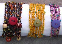 Crochet bracelet with button closure.