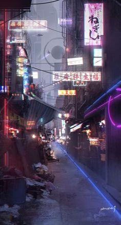 The future, Liu Jie – Cyberpunk Gallery Ville Cyberpunk, Art Cyberpunk, Cyberpunk Aesthetic, Aesthetic Japan, Neon Aesthetic, Aesthetic Sense, City Wallpaper, Scenery Wallpaper, Aesthetic Backgrounds