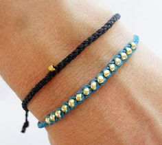 Super easy to DIY: Friendship bracelet beaded bracelet- nylon cord with gold glass bead