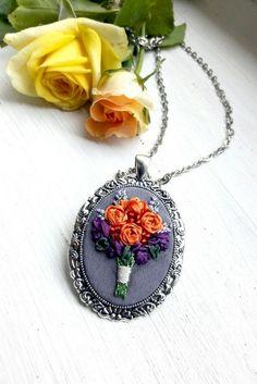 Trend rose jewelry woman Purple orange rose bouquet embroidered necklace Silk ribbon miniature embroidery pendant Flower romantic pendant
