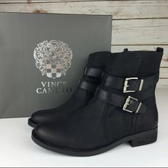 """[Vince Camuto] Pierson Moto Booties Edgy Chic Cool Dual ankle buckle straps intensify the moto edge of a standout ankle boot. Richly textured leather. Sturdy stacked heel. True to size. Comfortable. Timeless.  Color: Black Material: Leather Shaft Height: 6"""" Heel Height: 1"""" Condition: New in box. Box included.  No Trades! Vince Camuto Shoes Combat & Moto Boots"""