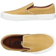 Vans Low-tops & Sneakers ($90) ❤ liked on Polyvore featuring shoes, sneakers, sand, round toe sneakers, vans trainers, vans sneakers, slip-on sneakers and leather slip-on shoes
