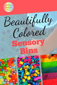 These are such great sensory bins for summer time! We brought our homemade sensory bin outside and have been enjoying it as part of our outdoor play in nice weather! Loving all these beautiful colors!
