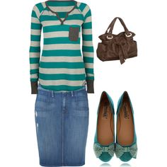 Untitled #13, created by petalsandpurses on Polyvore. For a Type 1/4---it's cute and I love the stripes!