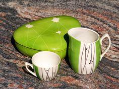hand painted porcelain, stoneware, Chodzież