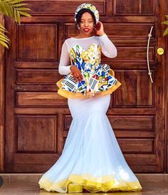 15 Traditional Attires Shweshwe , There are several ways in which you can wear your maxi dresess at different times on the images blow. Zulu Traditional Wedding Dresses, South African Traditional Dresses, Traditional Dresses Designs, Wedding Dresses South Africa, African Wedding Attire, Pedi Traditional Attire, Traditional Outfits, African Prom Dresses, African Dress