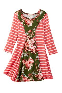 Long Sleeve Floral Stripe Skater Dress (Toddler, Little Girls, & Big Girls)