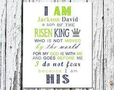 I AM His son Printable   PRINTABLE ART I Am His Son of the King Christian Nursery Wall Art Boys ...