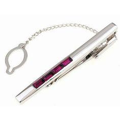 ddc0cbd84493 Silver coloured Tie clip with 4 Purple stones - The Sterling Silver Com