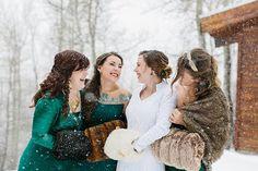 Bridesmaids in green | Frozen Winter Utah Mountain Wedding | Meg Ruth Photo