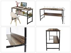 NEW Wood Steel Table Simple Plain Laptop Desk Computer With 4 Steel Legs Stand #DLfurniture #Space