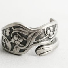 Slender Mistletoe Ring, Art Nouveau Ring, Spoon Ring Sterling Silver, Rare Antique Gorham H184 1900, 925 Unique Customized Ring Size (6620) by Spoonier on Etsy
