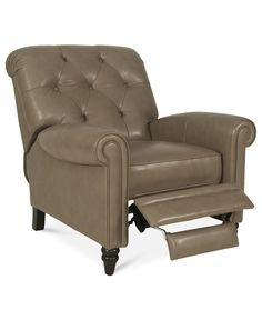 Martha Stewart Collection Leather Recliner Chair, Bradyn 36W x 41D x 41H - Chairs & Recliners - Furniture - Macy's
