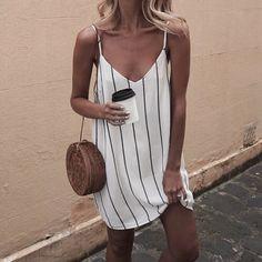 White striped slip dress, round purse
