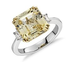 Yellow Sapphire and Diamond Three-Stone Ring in 18k White and Yellow Gold #bluenile (my birth stone) <3