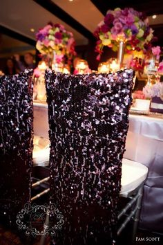 would be great for the bride & groom chairs, then a simpler look for guests chairs using the same sparkle