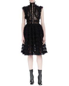 Alexander McQueen Sleeveless Lace-Ruffle Dress, Black