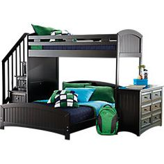 Cottage Colors Black Twin Full Step Loft Bedroom