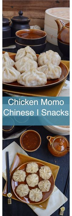 Best Chicken Momo are Nepalese or Chinese dumplings that are boiled or fried in a special steamer and taste delicious with a spicy dipping sauce. Make them for snacks or dinner, they are good always. Chinese I Indo Chinese I Snacks I chicken I dumpling I Chicken Snacks, Yummy Chicken Recipes, Yum Yum Chicken, Chicken Momo Recipe, Appetizer Recipes, Snack Recipes, Cooking Recipes, Appetizers, Momos Recipe