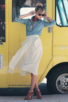 Chambray shirt and white/cream skirt combo