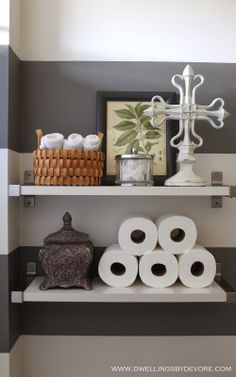 Turn bathroom essentials into decorations with the help of EKBY shelves