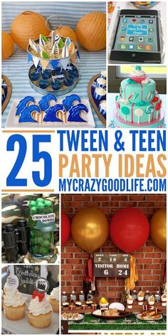 Tween-and-teen-party-ideas. This age is so hard to find themes for and these are… Tween-and-Teen-Party-Ideen. Dieses Zeitalter ist so schwer zu. Teenage Boy Party, Teenage Boy Birthday, Teen Girl Parties, Teenage Parties, Girls Party, Boy 16th Birthday, Golden Birthday, Happy Birthday, 13th Birthday Parties