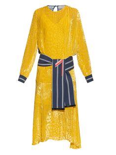 Amber long-sleeved velvet-devoré dress by Preen By Thornton Bregazzi | Shop now at #MATCHESFASHION.COM