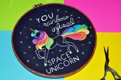 A memorable gift for the Ann Perkins in your life  A majestic rainbow-haired unicorn floats in space, surrounded by metallic silver and gold stars, to