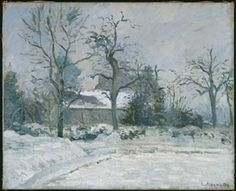 Camille Pissarro (1830-1903), Maison de Piette à Montfoucault, effet de neige, 1874, Fitzwilliam Museum, Cambridge. Pissarro first visited his painter friend and impressionist painter Ludovic Piette, also called Montfoucault (1826-1878) on his estate at Montfoucault, in Mayenne (eastern Brittany) in the 1860s, but it was not until the middle of the following decade that he used it as the focus for a series of extended painting campaigns.