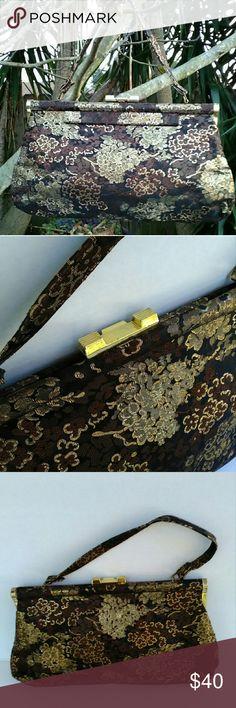 Vintage handbag Vintage handbag- brown/black/gold- gold hardware- cloth- vinyl inside Vintage Bags Satchels