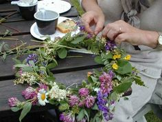 Midsommar - making flower wreaths from wildflowers
