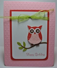 Owl Happy Birthday Handmade Card Pink Red and by BeingACreativeMom, $2.20