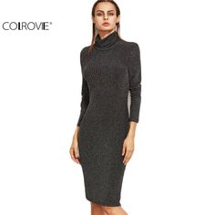 COLROVIE Long Sleeve Bodycon Dress Women Business Casual Clothing Black Marled Knit Cowl Neck Ribbed Pencil Dress