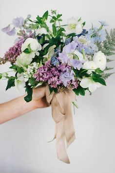 Purple Wedding Flowers Hellebore, Hyacinth, Sweet Pea, Ranunculus, and Lilac Bouquet by Sarah Winward Lilac Wedding Flowers, Spring Wedding Bouquets, Spring Bouquet, Flower Bouquet Wedding, Floral Wedding, Blue Flowers, Wildflower Bridal Bouquets, Wedding Boquette, Wedding Blue