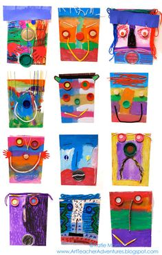 Found Object Faces: Adventures of an Art Teacher: Abstract faces Kindergarten Art, Preschool Art, First Grade Art, Tech Art, Ecole Art, Found Object Art, Art Lessons Elementary, Recycled Art, Art Classroom