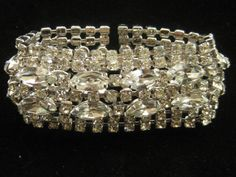 Vintage Kramer of NY Wide Rhinestone Bracelet by mimisvintageshop, $85.00