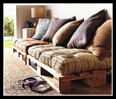 Low Seating Benches with Wooden Pallets... For nook :)