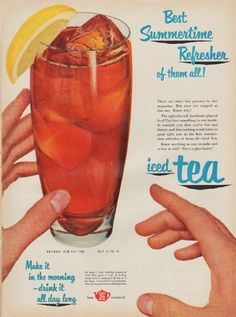 """Description: 1952 TEA COUNCIL vintage print advertisement """"Best Summertime Refresher"""" -- Best Summertime Refresher of them all! There are other fine pictures in this magazine. But your eye stopped at this one. Know why? The sight of a tall, handsome glass of Iced Tea does something to you inside. It reminds you that you're hot and thirsty and that nothing would taste so good right now as the best summertime refresher of them all -- Iced Tea. Make it in the morning -- drink it all day long…"""