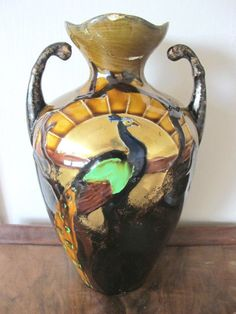 THOMAS FORESTER  PHOENIX WARE TREACLE GLAZE GILDED TWIN HANDLE PEACOCK VASE