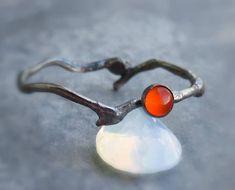 Carnelian Twig Ring - Branch Engagement Ring - Gemstone Twig Ring - Oxidised Ring