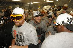 Hunter Pence and the Giants celebrate their World Series win in Game 7 at Kauffman Stadium on Wednesday, Oct. 29, 2014 in Kansas City, Mo. Photo: Michael Macor, The Chronicle
