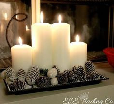 DIY Christmas and Christmas Decorating Ideas - * Jul-Christmas-Noel-Weihnachten * Noel Christmas, Christmas Candles, Christmas Centerpieces, Xmas Decorations, All Things Christmas, Winter Christmas, Christmas Crafts, Centerpiece Ideas, Coffee Table Christmas Decor