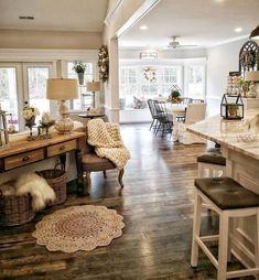 Home Living Room, Living Room Designs, Living Room Furniture, Living Room Decor, Dining Room, Spacious Living Room, Kitchen Living, Rustic Furniture, Bedroom Decor