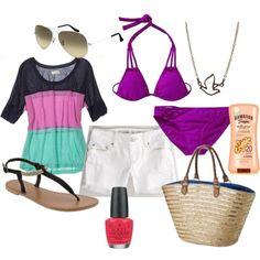purple beach wear Polyvore