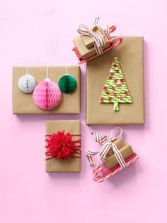 These colorful gift toppers add wow factor to humble brown paper packages.